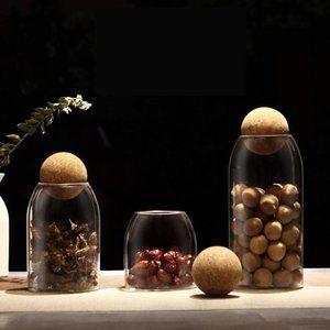 3Pcs Glass Jars with Airtight Seal Ball Cork Lid